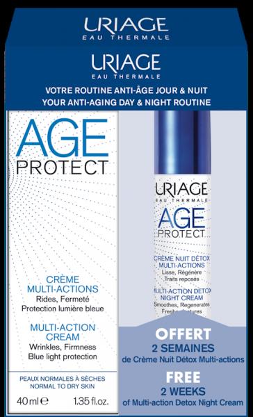 AGE PROTECT - CRÈME MULTI-ACTIONS 40 ml + CRÈME NUIT DÉTOX MULTI-ACTIONS 10 mL OFFERT URIAGE